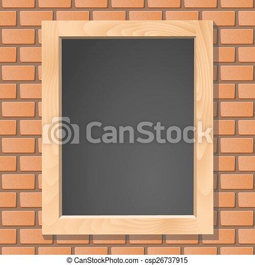 Blackboard on brick wall, vector illustration - csp26737915