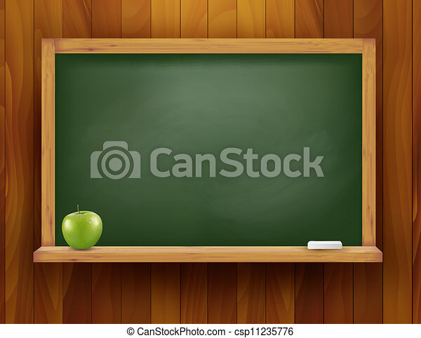 Blackboard with green apple on wooden background. Vector illustration. - csp11235776
