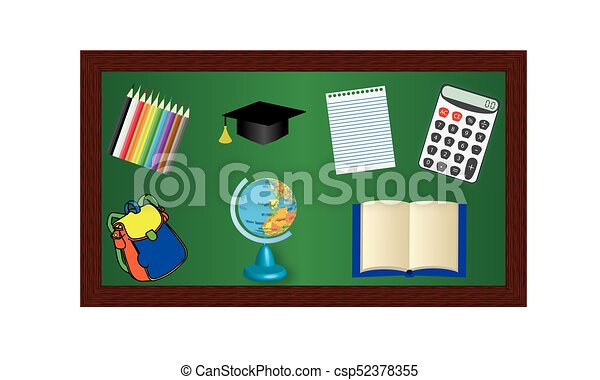 Blackboard with objects for education - csp52378355