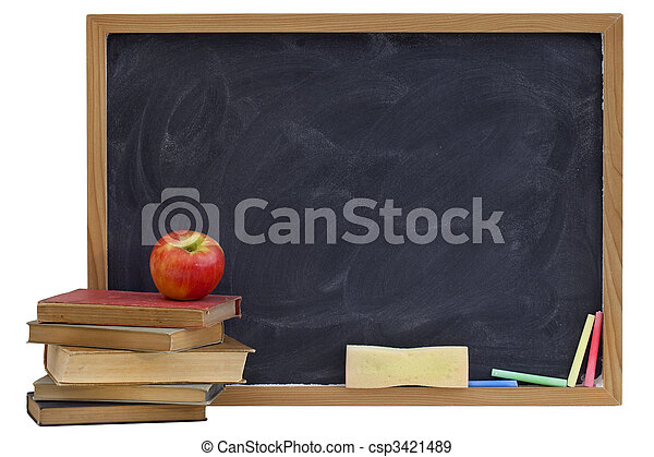 blackboard with old textbooks and apple - csp3421489