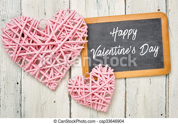 Blackboard with pink hearts - Happy Valentines Day - csp33646904