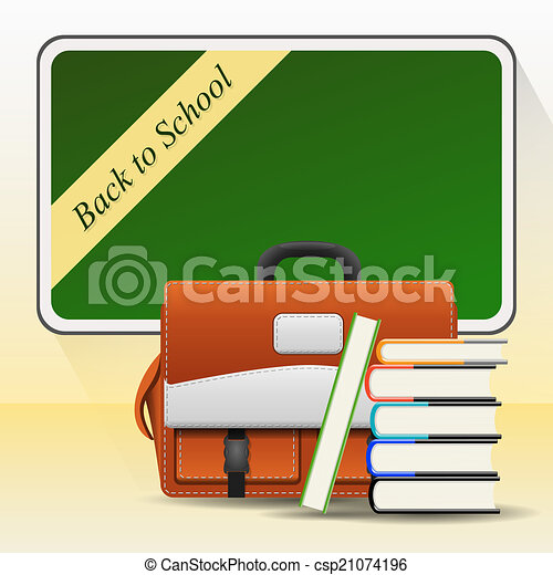 Blackboard with school bag and books - csp21074196