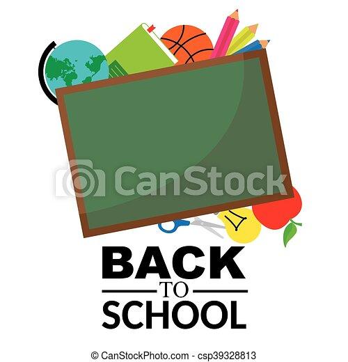 blackboard with school objects - csp39328813