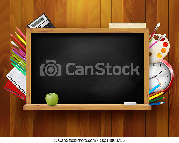 Blackboard with school supplies on wooden background. Vector illustration.  - csp13863755