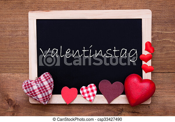 Blackboard With Textile Hearts, Text Valentinstag Means Valentines Day    Csp33427490
