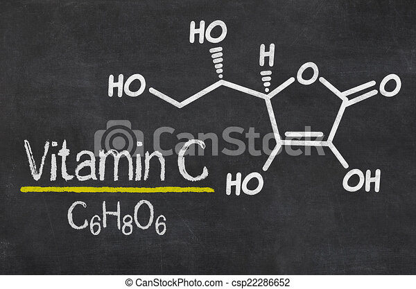 Blackboard with the chemical formula of Vitamin C - csp22286652