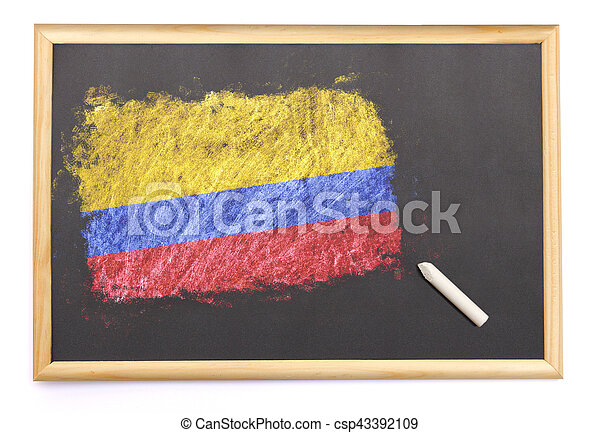 Blackboard with the national flag of Colombia drawn on.(series) - csp43392109