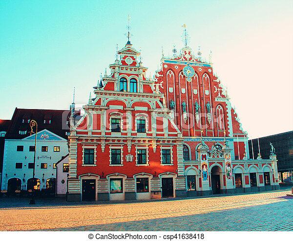 La casa de los negros en la antigua ciudad de Riga - csp41638418