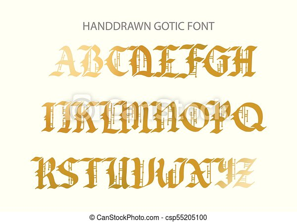 Blackletter Gothic Script Hand Drawn Font Decorative Vintage Styled Letters