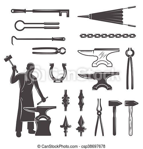 Blacksmith Black White Icons Set - csp38697678