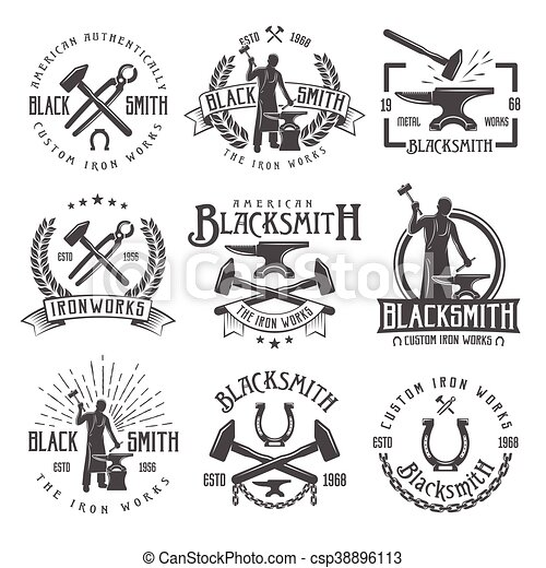Blacksmith Graphic Vintage Emblems - csp38896113