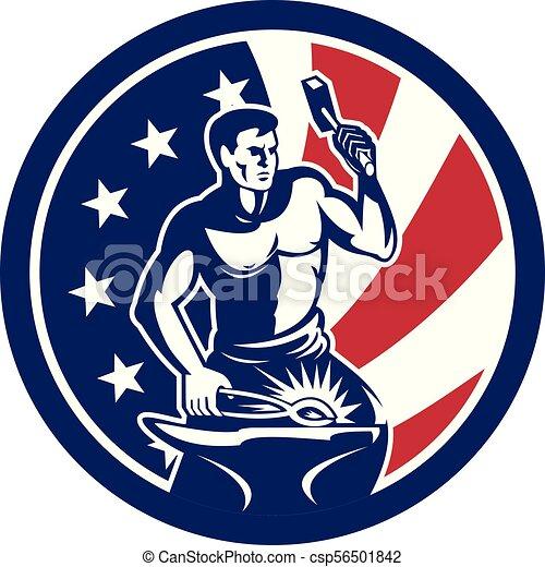 blacksmith hammer anvil front CIRC-USA-FLAG-ICON - csp56501842