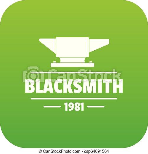 Blacksmith icon green vector - csp64091564