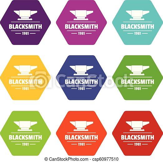 Blacksmith icons set 9 vector - csp60977510