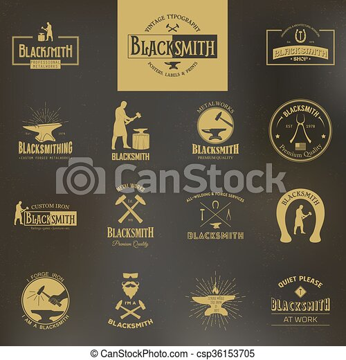 Blacksmith. Set of vintage typography posters, labels and prints.  - csp36153705