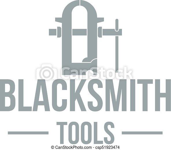 Blacksmith tool logo, simple gray style - csp51923474