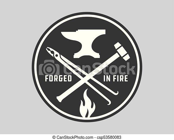 Blacksmith vector emblem or badge. - csp53580083