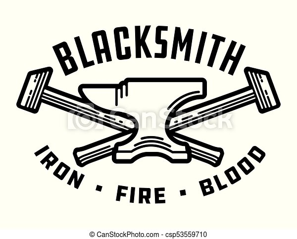 Blacksmith vector emblem or badge. - csp53559710