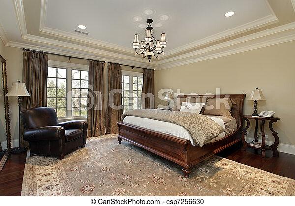 Blad, plafond, meester, slaapkamer. Plafond, meester, luxe ...