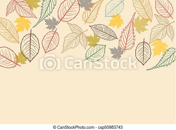 bladeren, achtergrond, herfst - csp50983743