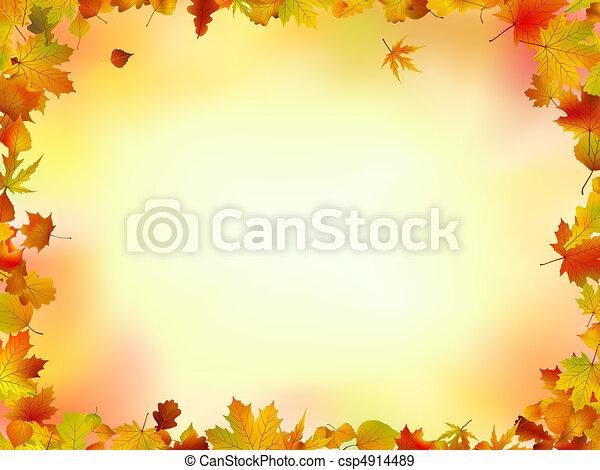 bladeren, frame, herfst - csp4914489