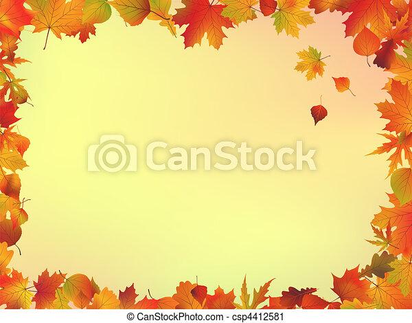 bladeren, frame, herfst - csp4412581