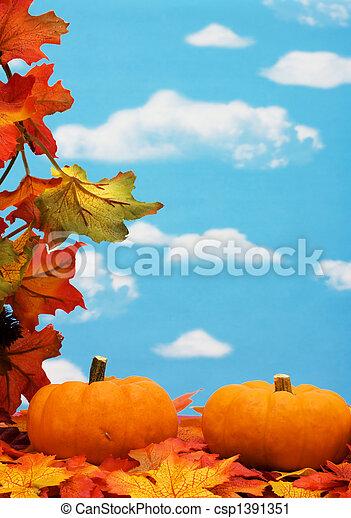 bladeren, grens, herfst - csp1391351