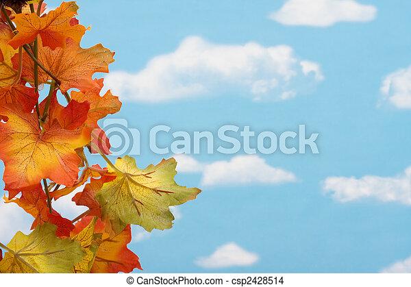 bladeren, grens, herfst - csp2428514