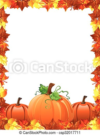 bladeren, pompoennen, grens, herfst - csp32017711