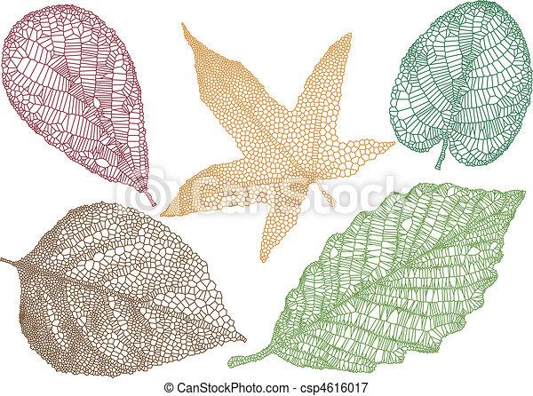 bladeren, vector, herfst - csp4616017