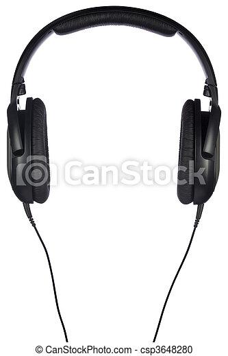 blanc, écouteurs, isolé - csp3648280