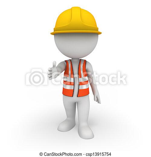 blanc, 3d, ouvrier, route, gens - csp13915754