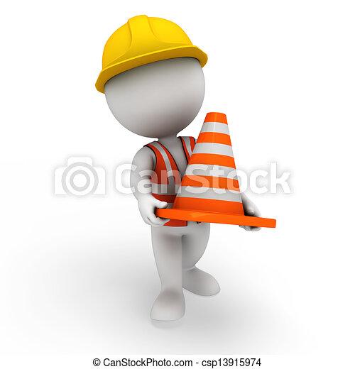 blanc, 3d, ouvrier, route, gens - csp13915974