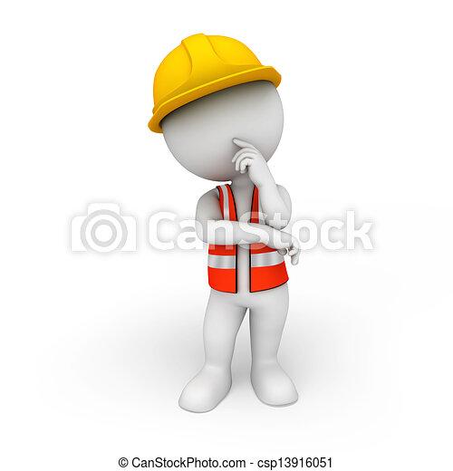 blanc, 3d, ouvrier, route, gens - csp13916051