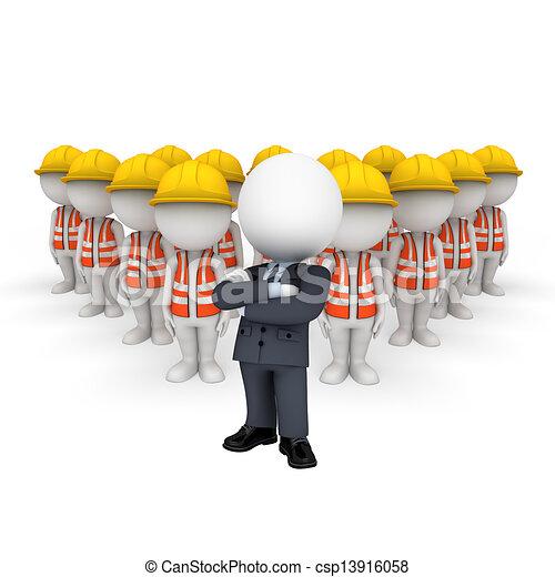 blanc, 3d, ouvrier, route, gens - csp13916058