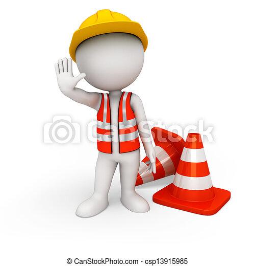 blanc, 3d, ouvrier, route, gens - csp13915985