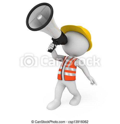 blanc, 3d, ouvrier, route, gens - csp13916062