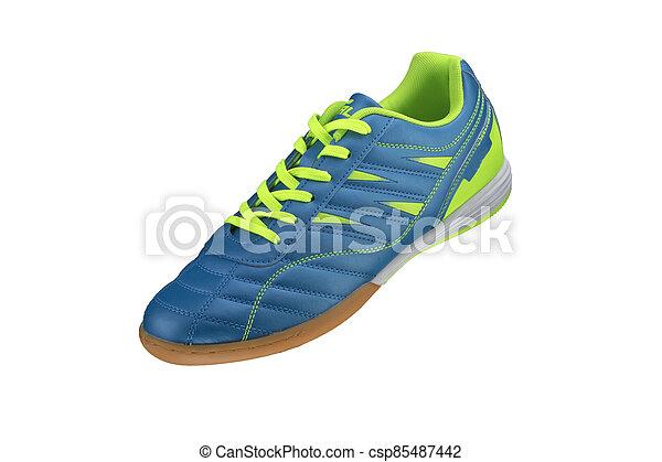 blanc, arrière-plan., basket, shoes., vert, sport, raies, bleu - csp85487442