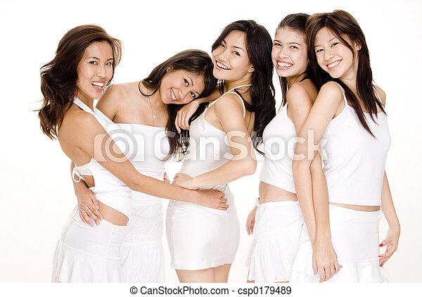 blanc, asiatique, #5, femmes - csp0179489