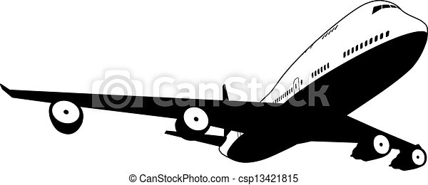 Blanc avion noir jet commercial illustration avion noir stylis blanc - Dessin avion stylise ...