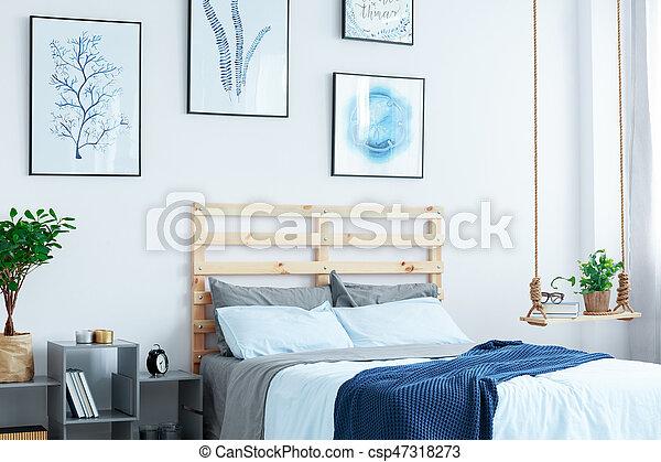 blanc, bois, lit, chambre à coucher