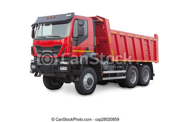 blanc, camion, isolé, décharge - csp28020859
