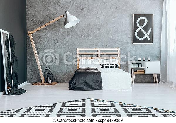 Blanc, chambre à coucher, noir, miroir. Stands, miroir, suivant ...