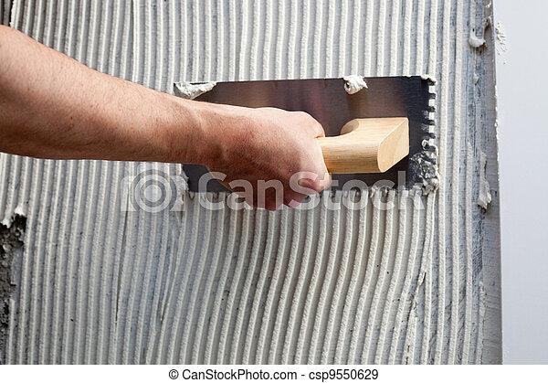 blanc, construction, notched, truelle, ciment - csp9550629
