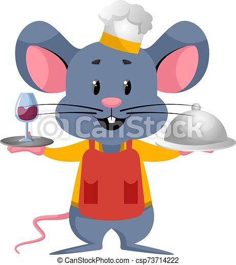 blanc, cuisine, souris, illustration, vecteur, arrière-plan. - csp73714222