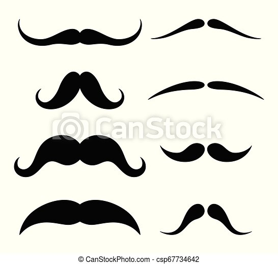 blanc, ensemble, hipster, moustache, fond - csp67734642