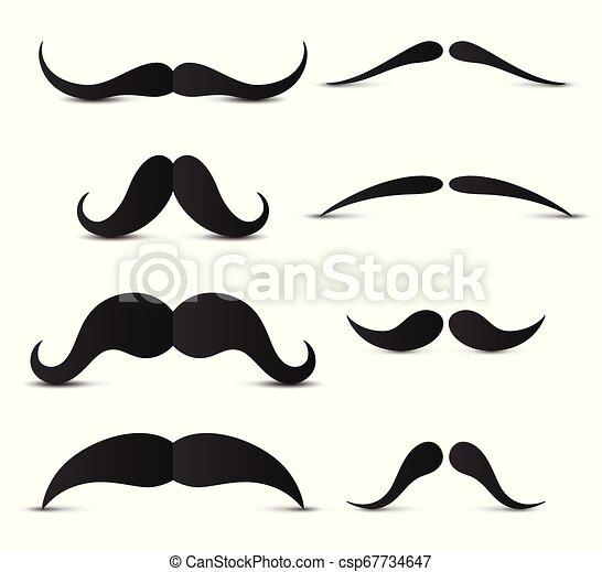 blanc, ensemble, hipster, moustache, fond - csp67734647