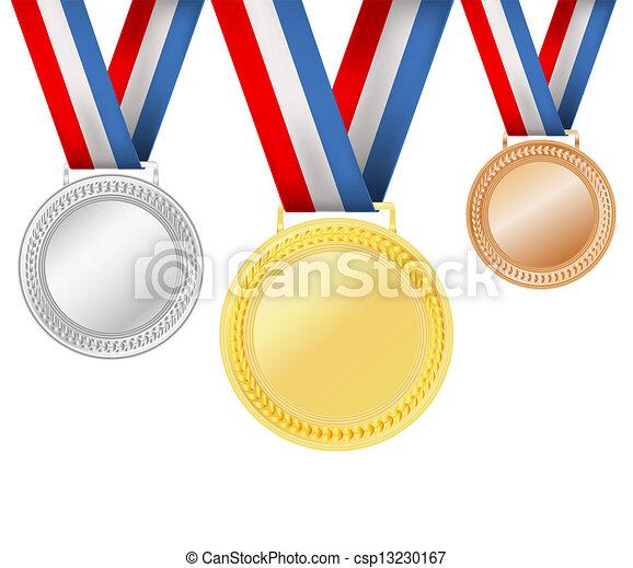 blanc, ensemble, médailles - csp13230167