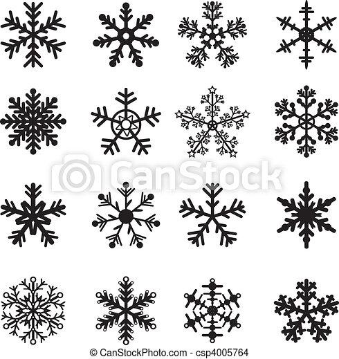blanc, ensemble, noir, flocons neige - csp4005764