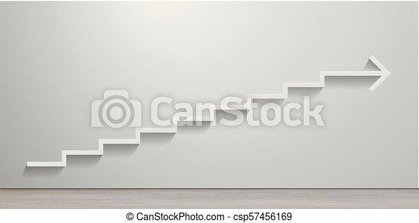 blanc, escalier, flèche - csp57456169